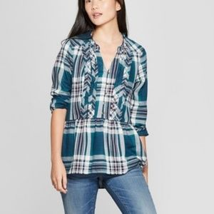 NWOT Knox Rose Teal Plaid Peplum Shirt 3/4 sleeves